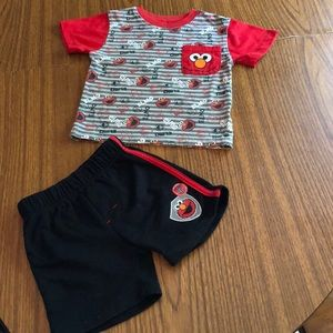 Adorable Elmo Shorts and Tee Outfit